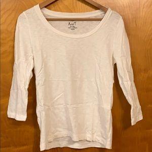 J. Crew 3 quarter length sleeves white t-shirt
